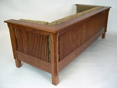Mission Arts And Crafts Stickley Style Prairie Spindle Settle Sofa