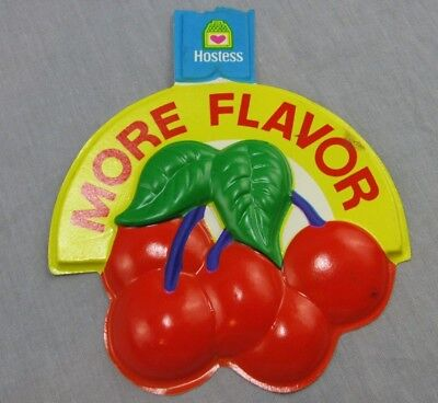 """Vintage Hostess Cherry Pie Sign 5x6"""" Puffy 3D Store Display Cherries More Flavor"""