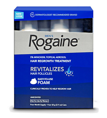 New Rogaine Men's Hair Regrowth Treatment Foam, 4 Month Supply Sealed EXP 10/19