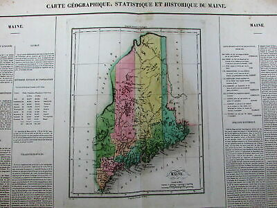 Maine 1822-5 Carey & Lea Buchon French issue lovely folio old map Thompson #40