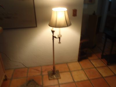 VINTAGE BRASS Floor Lamp with Milk Glass Shade #4000 - $115.00 ...
