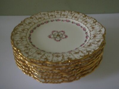 8 Antique Minton Luncheon Plates - Roses & Gold