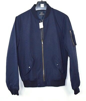 NWT Mens J. Crew Navy Blue Water Resistant MA-1 Style Bomber Jacket Coat XS A95