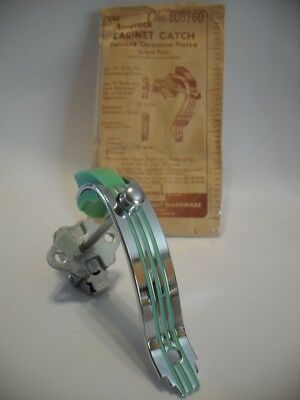 Vtg CHROME Cabinet Door Pulls w/GREEN End Push Button Latch Amerock EO8760 NOS