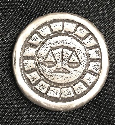 """1 Troy Oz  MK BarZ  """"Justice for All"""" Stamped Round .999 Fine Silver"""