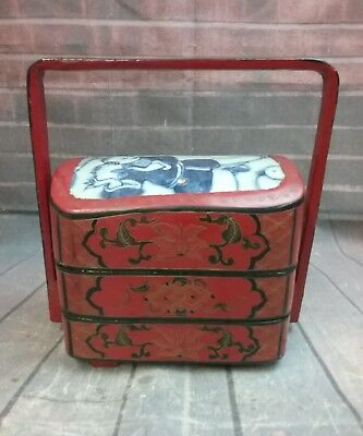 Vintage Jewelry Box Lacquerware Asian-Style  - Stackable 3 tiers with handle