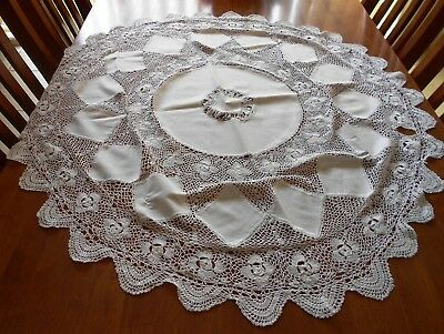 Vintage Crochet and Linen White Tablecloth Round 100cm Diameter