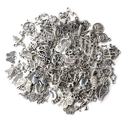 Wholesale 100pcs Bulk Lots Tibetan Silver Mix Charm Pendants Jewelry Craft DIY