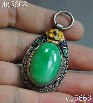 Collect Chinese Tibet silver Cloisonne inlay jade flower statue jewelry Pendant