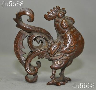 antique old Chinese pure bronze Feng shui Zodiac animal chicken cock statue
