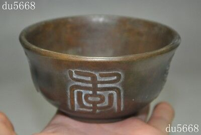 """3""""Marked Antiques old Chinese pure bronze Text word Gossip bowl bowls cup statue"""