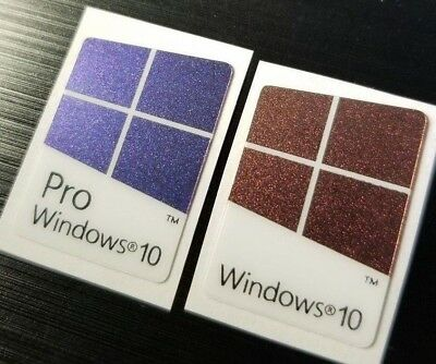 1x/2x/5x/10x Windows 10 Pro & Windows 10 Badge Sticker Sparkle Color Changing