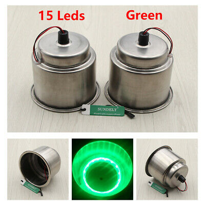 2pc Green 8LED Recessed Stainless Steel Cup Drink Holder for Car Marine Boat