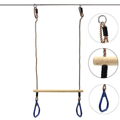 Wooden Trapeze Bar Blue For Children's Fitness Outdoor Sports Swing Training