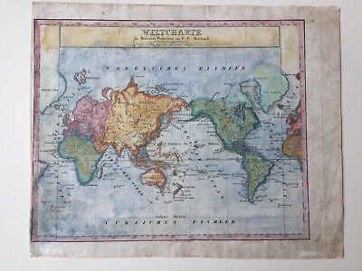 WELTKARTE, MERCATOR C.G. Richard Worldmap um 1800 - EUR 9,90 ...