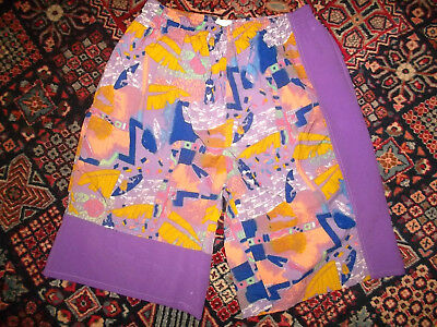 vintage 90`s BLUE SEVEN shorts beach neon pants olschool festival surf XL (L)