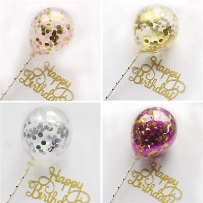 Happy Birthday Cake Flags Sequins Balloon Cakecup Stick For Party Baking Decor