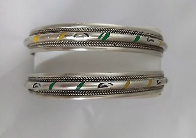 Moroccan Bangles Ethnic Artwork Engraved Berber Style Old Metal Bangles
