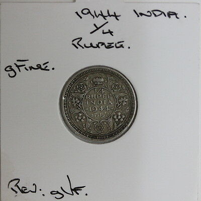 British India Silver Quarter 1/4 Rupee 1944  (JF70)