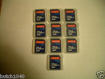 Qty=10 Sandisk 256Mb Sd Memory Card(Brand New)With Case (Ships Quickly From Usa)