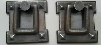 "2 Arts and Crafts antique style brass handles pulls hardware  2 1/16""  #H38"