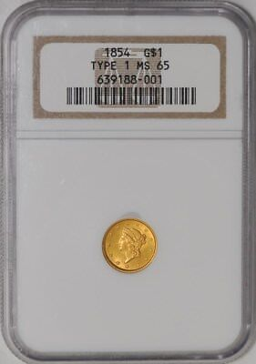 1854 Type 1 $ Gold Liberty Dollar #639188-001 MS65 NGC