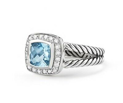 860b601be6f41 David Yurman Petite Albion Ring with Hampton Blue Topaz and Diamonds Halo  Silver