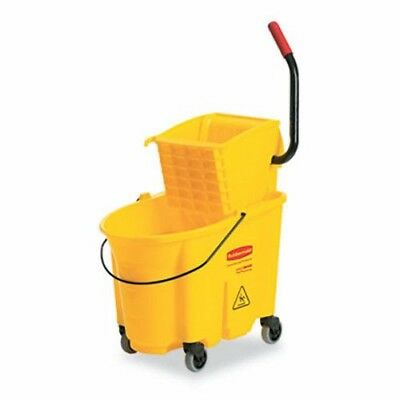 Rubbermaid WaveBrake Side Press Mop Bucket & Wringer, Yellow (RCP748000YEL)