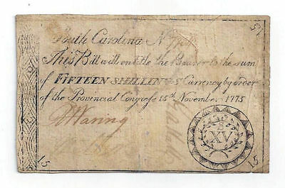 1775 South Carolina Fifteen Shilling Colonial Currency No.7734