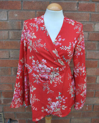 Ladies BNWT Boohoo Maternity Red Floral Wrap Blouse Kimono Long Sleeve Top UK 8
