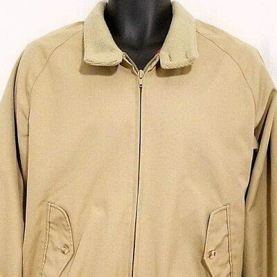 Lands End Mens Barracuda Jacket Vtg 90s Harrington Plaid Lining Beige Medium