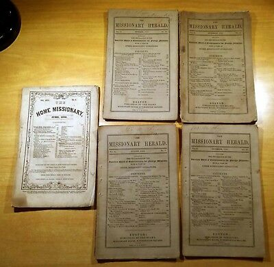 4 Volumes of The Missionary Herald 1854 + 1 Volume of The Home Missionary 1852