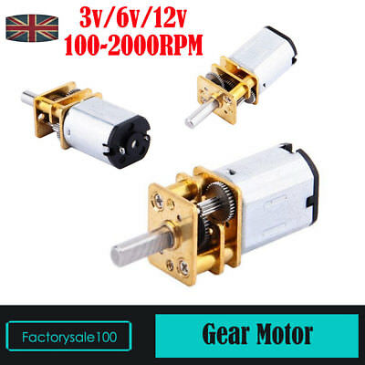 DC 3/6/12V 50-2000RPM N20 Micro Speed Reduction Gear DC Motor with Metal Gearbox