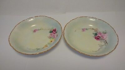 "Pair of RC Rosenthal Versailles Bavaria Hand Painted Roses 5 3/4"" Fruit Bowls"
