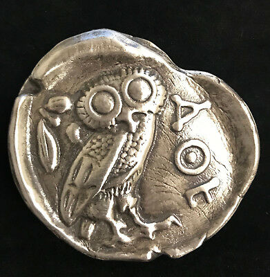 """3 Oz  MK BarZ """"Owl of Athena"""" Tribute to Ancient Coin LTD .999 FS Hand Poured"""