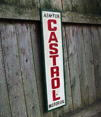 Large cast iron Castrol vintage style sign-Ask for Castrol sign-Collectible sign