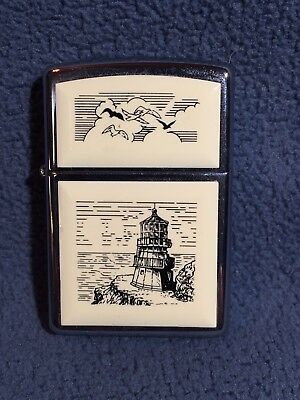 RARE..NEW..ZIPPO Scrimshaw LIGHTER Lighthouse..UNFIRED w Orange Seal..$1 Ship