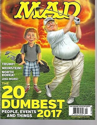 Mad Magazine Feb 2018, 2017 Top 20 Dumbest Events, New No Label.