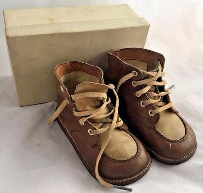Antique Little Boy's Two-Tone Brown Beige Leather Shoes Original Box High Sided