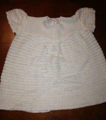 Vintage Baby Girls White Acrylic Dress Made In Portugal