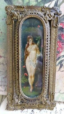 AMAZING Antique Ornate Victorian Art Nouveau Edwardian Nude Saloon Girl