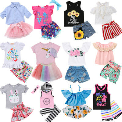 US Kids Baby Girls Unicorn Floral Tops T Shirt Shorts Skirt Pants Outfit Clothes
