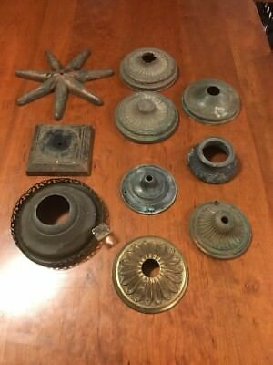Lot of 10 Antique Vintage Brass Iron Ornate Lamp Base Light Part