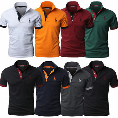 Mens Slim Fit Polo Shirts Plain Short Sleeve Casual Golf T-shirt Tee Tops Jersey