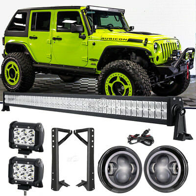 "52""inch +4"" LED Light Bar+Mount Bracket+7"" Headlight Fit For Jeep Wrangler JK"