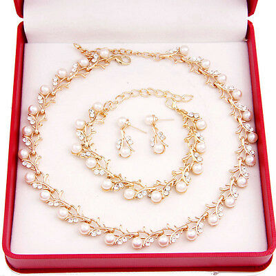 Fashion Women Bridal Crystal Necklace Earring Set Wedding  Pearl Jewelry Sets