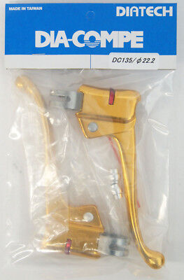 DIA-COMPE DC135 Brake Lever Left & Right (Pair) for Flat Bar Gold