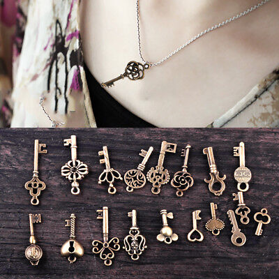 18x Assorted Antique Vintage Old Keys Pendant Bronze DIY Skeleton Heart Bow Lock