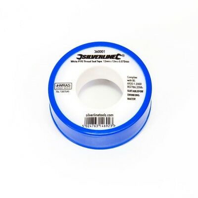 Silverline White PTFE Tape Threaded Seal Fitting Water Plumbing Tape 12mmx12mtr