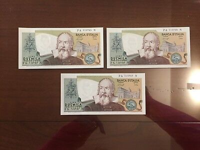 Lotto 3 Banconote Consecutive Lire 2000 Galilei 1976 Fds Filigrana Super Rilievo